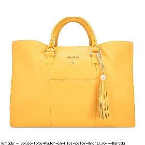 Bolso Tote Mujer en Piel color Amarillo - Barada