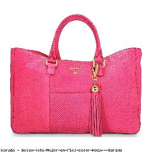 Bolso Tote Mujer en Piel color Rosa - Barada