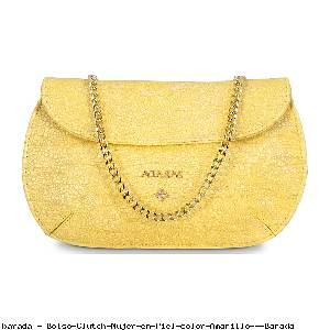 Bolso Clutch Mujer en Piel color Amarillo - Barada