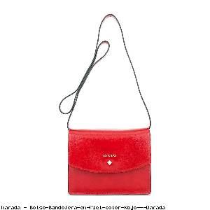 Bolso Bandolera en Piel color Rojo - Barada
