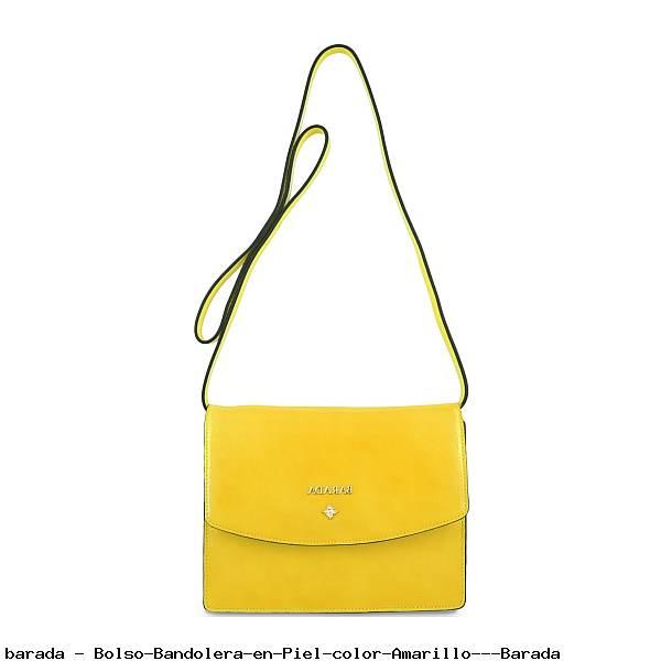 Bolso Bandolera en Piel color Amarillo - Barada