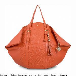 Bolso Shopping Mujer en Piel color Coral - Barada