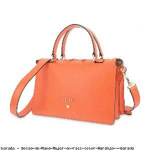 Bolso de Mano Mujer en Piel color Naranja - Barada