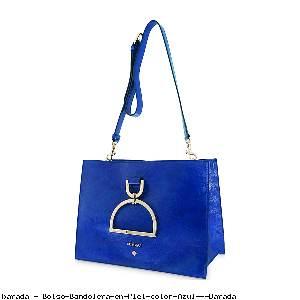 Bolso Bandolera en Piel color Azul - Barada