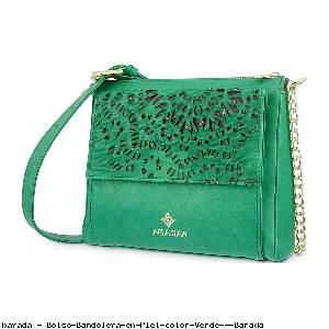 Bolso Bandolera en Piel color Verde - Barada