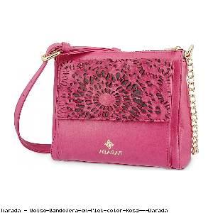 Bolso Bandolera en Piel color Rosa - Barada