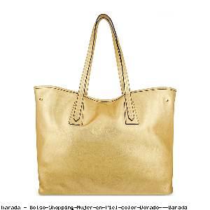 Bolso Shopping Mujer en Piel color Dorado - Barada