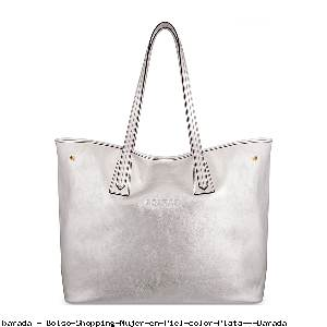 Bolso Shopping Mujer en Piel color Plata - Barada