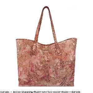 Bolso Shopping Mujer en Piel color Rojo - Barada