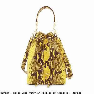 Bolso Saco Mujer en Piel color Amarillo - Barada