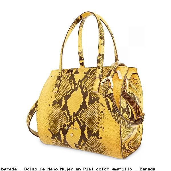Bolso de Mano Mujer en Piel color Amarillo - Barada