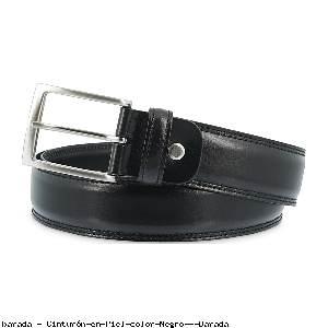 Cinturón en Piel color Negro - Barada