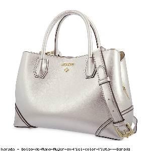 Bolso de Mano Mujer en Piel color Plata - Barada