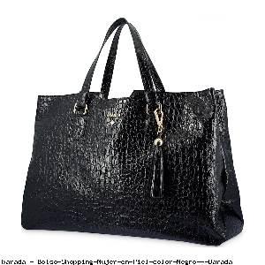 Bolso Shopping Mujer en Piel color Negro - Barada